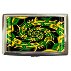 Green Yellow Fractal Vortex In 3d Glass Cigarette Money Cases by Simbadda