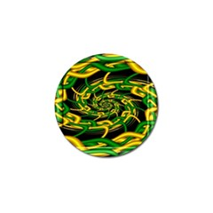 Green Yellow Fractal Vortex In 3d Glass Golf Ball Marker by Simbadda