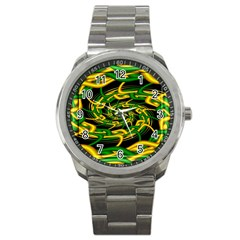 Green Yellow Fractal Vortex In 3d Glass Sport Metal Watch by Simbadda