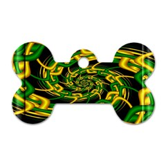 Green Yellow Fractal Vortex In 3d Glass Dog Tag Bone (two Sides) by Simbadda