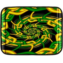 Green Yellow Fractal Vortex In 3d Glass Fleece Blanket (mini) by Simbadda