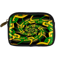 Green Yellow Fractal Vortex In 3d Glass Digital Camera Cases by Simbadda