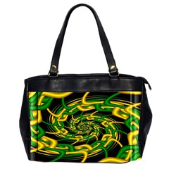 Green Yellow Fractal Vortex In 3d Glass Office Handbags (2 Sides)  by Simbadda
