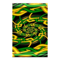 Green Yellow Fractal Vortex In 3d Glass Shower Curtain 48  X 72  (small)  by Simbadda