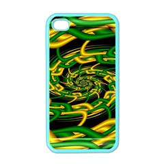 Green Yellow Fractal Vortex In 3d Glass Apple Iphone 4 Case (color) by Simbadda