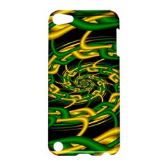 Green Yellow Fractal Vortex In 3d Glass Apple Ipod Touch 5 Hardshell Case by Simbadda