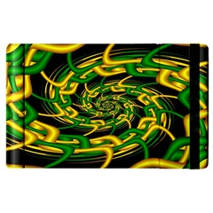 Green Yellow Fractal Vortex In 3d Glass Apple Ipad 2 Flip Case by Simbadda