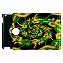 Green Yellow Fractal Vortex In 3d Glass Apple Ipad 2 Flip 360 Case by Simbadda