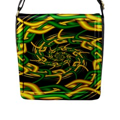 Green Yellow Fractal Vortex In 3d Glass Flap Messenger Bag (l)  by Simbadda