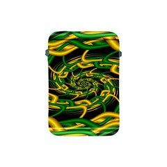 Green Yellow Fractal Vortex In 3d Glass Apple Ipad Mini Protective Soft Cases by Simbadda
