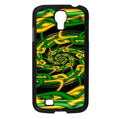 Green Yellow Fractal Vortex In 3d Glass Samsung Galaxy S4 I9500/ I9505 Case (black) by Simbadda