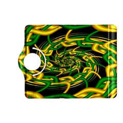 Green Yellow Fractal Vortex In 3d Glass Kindle Fire Hd (2013) Flip 360 Case by Simbadda