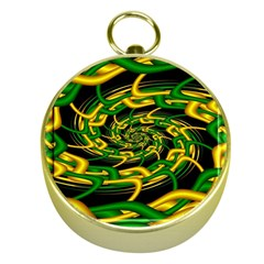 Green Yellow Fractal Vortex In 3d Glass Gold Compasses by Simbadda