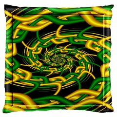 Green Yellow Fractal Vortex In 3d Glass Standard Flano Cushion Case (two Sides) by Simbadda