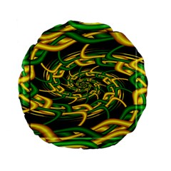 Green Yellow Fractal Vortex In 3d Glass Standard 15  Premium Flano Round Cushions by Simbadda