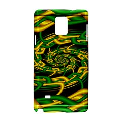 Green Yellow Fractal Vortex In 3d Glass Samsung Galaxy Note 4 Hardshell Case by Simbadda