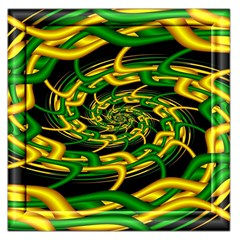 Green Yellow Fractal Vortex In 3d Glass Large Satin Scarf (square) by Simbadda