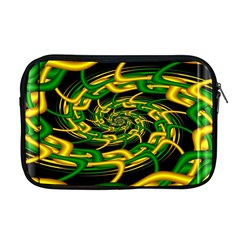 Green Yellow Fractal Vortex In 3d Glass Apple Macbook Pro 17  Zipper Case by Simbadda