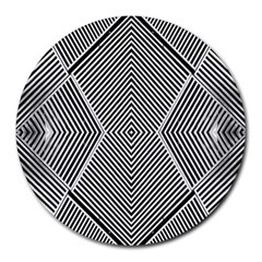 Black And White Line Abstract Round Mousepads by Simbadda