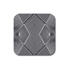 Black And White Line Abstract Rubber Square Coaster (4 Pack)  by Simbadda