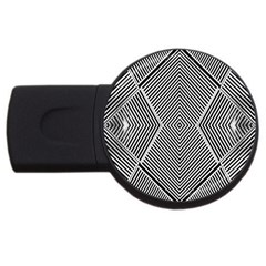 Black And White Line Abstract Usb Flash Drive Round (2 Gb) by Simbadda