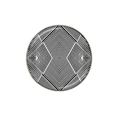 Black And White Line Abstract Hat Clip Ball Marker (4 Pack) by Simbadda