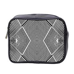 Black And White Line Abstract Mini Toiletries Bag 2 Side by Simbadda