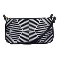 Black And White Line Abstract Shoulder Clutch Bags by Simbadda