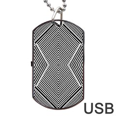 Black And White Line Abstract Dog Tag Usb Flash (one Side) by Simbadda