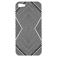 Black And White Line Abstract Apple Iphone 5 Hardshell Case by Simbadda