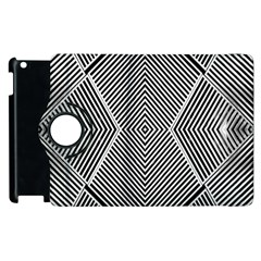 Black And White Line Abstract Apple Ipad 2 Flip 360 Case by Simbadda
