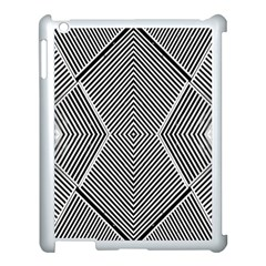 Black And White Line Abstract Apple Ipad 3/4 Case (white) by Simbadda