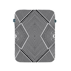 Black And White Line Abstract Apple Ipad 2/3/4 Protective Soft Cases by Simbadda
