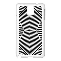 Black And White Line Abstract Samsung Galaxy Note 3 N9005 Case (white) by Simbadda