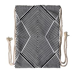 Black And White Line Abstract Drawstring Bag (large) by Simbadda