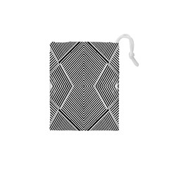 Black And White Line Abstract Drawstring Pouches (xs)  by Simbadda