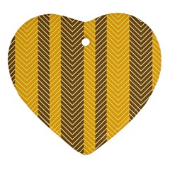 Brown And Orange Herringbone Pattern Wallpaper Background Ornament (heart) by Simbadda