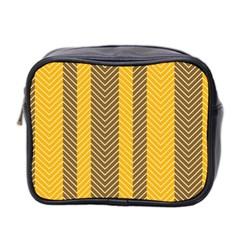 Brown And Orange Herringbone Pattern Wallpaper Background Mini Toiletries Bag 2 Side by Simbadda