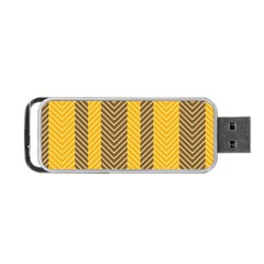 Brown And Orange Herringbone Pattern Wallpaper Background Portable Usb Flash (two Sides) by Simbadda