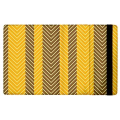 Brown And Orange Herringbone Pattern Wallpaper Background Apple Ipad 2 Flip Case by Simbadda