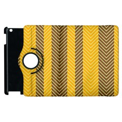 Brown And Orange Herringbone Pattern Wallpaper Background Apple Ipad 2 Flip 360 Case by Simbadda