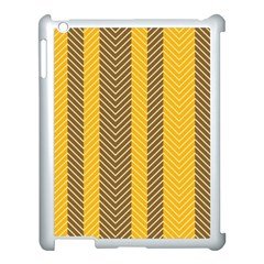 Brown And Orange Herringbone Pattern Wallpaper Background Apple Ipad 3/4 Case (white) by Simbadda