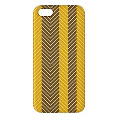 Brown And Orange Herringbone Pattern Wallpaper Background Iphone 5s/ Se Premium Hardshell Case by Simbadda