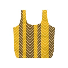 Brown And Orange Herringbone Pattern Wallpaper Background Full Print Recycle Bags (s)  by Simbadda