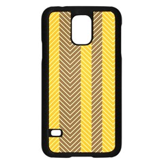 Brown And Orange Herringbone Pattern Wallpaper Background Samsung Galaxy S5 Case (black) by Simbadda