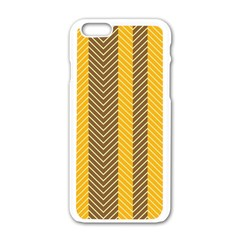 Brown And Orange Herringbone Pattern Wallpaper Background Apple Iphone 6/6s White Enamel Case by Simbadda