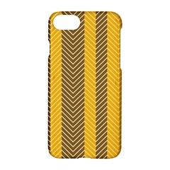 Brown And Orange Herringbone Pattern Wallpaper Background Apple Iphone 7 Hardshell Case by Simbadda