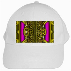Fractal In Purple And Gold White Cap by Simbadda