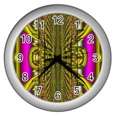 Fractal In Purple And Gold Wall Clocks (silver)  by Simbadda
