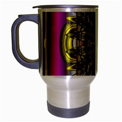 Fractal In Purple And Gold Travel Mug (silver Gray) by Simbadda
